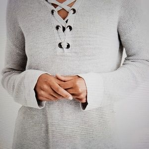 American Eagle Lace Up Pullover Sweater